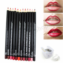 lipliner beauty 12pcs/lot Waterproof Professional Pencil Lip Liner Pencil Set makeup lipstick tool Lip Liner Pencil