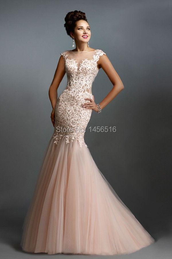 Real Images Sexy Lace Long Elegant Mermaid Prom Dresses ...