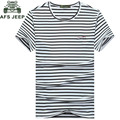 Afs Jeep Striped t shirt Men Plus Size M 3XL Casual Polyester Summer Men's Clothes Stretch O-neck Short-sleeved Men's Tops Tees