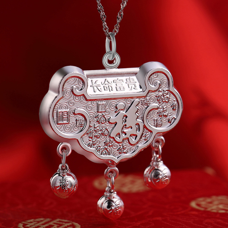 цена на S999 SILVER BABY GIFT PENDANT infant child lock collar factory direct wholesale