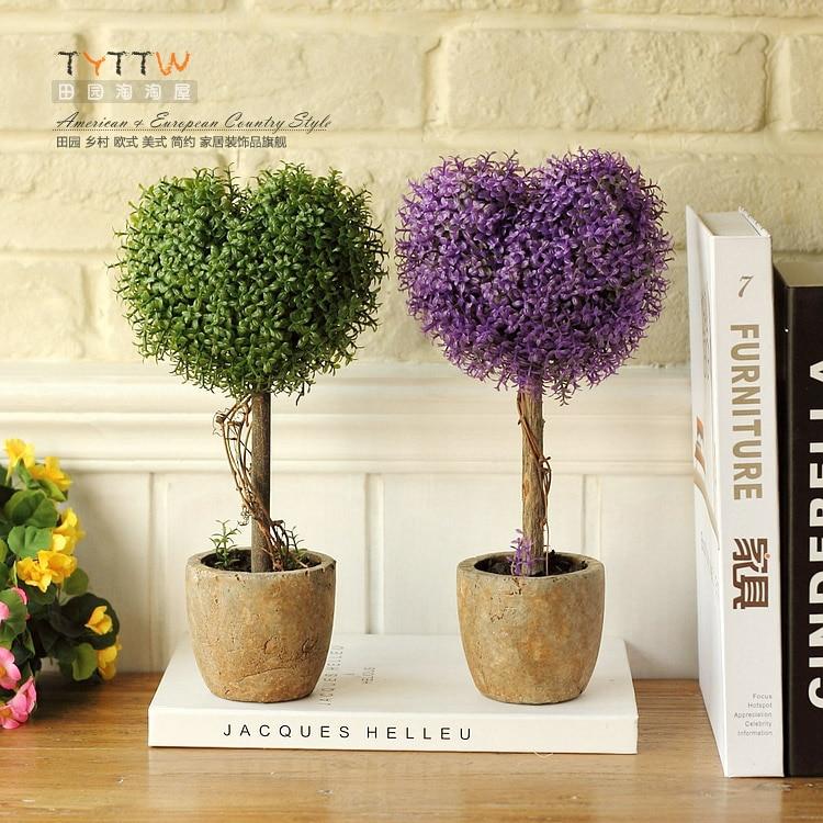 Arcilla moda r stico maceta plantas artificiales coraz n for Plantas artificiales decoracion