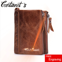 Free Engraving Genuine Crazy Horse Leather Men Wallet Brand Design England Style Male Wallets With Coins