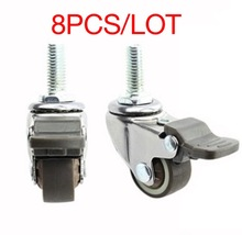 8Pieces/Lot Wheel D:25mm  M6 (1inch) Mute Universal Caster With Brake (Loading 20kg)