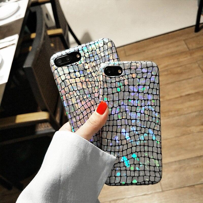 Роскошный блеск лазерный Телефон чехол для iPhone X 7 8 6 S 6 Plus ультра тонкий Bling крокодил змеиной кожи жесткий ПК Защитный i8 i7 крышка