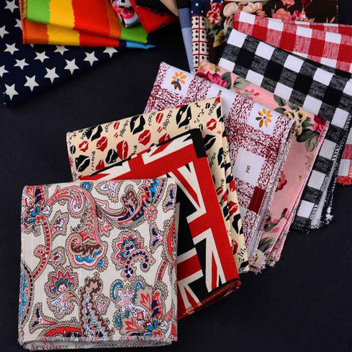 Paisley Mens Pocket Square Cotton Linen Small Square Handkerchief Big Flower Floral Grid Five Star Striped Pattern Party