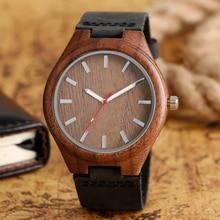 男性のアナログ自然木のクォーツファッション女性スポーツ腕時計本革バンド竹カジュアル腕時計relojes montres