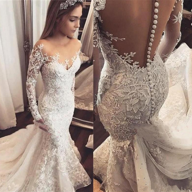 Wedding-Dress Novia Applique Mermaid Long-Sleeve Bride White Lace Vestido Open-Back Sexy