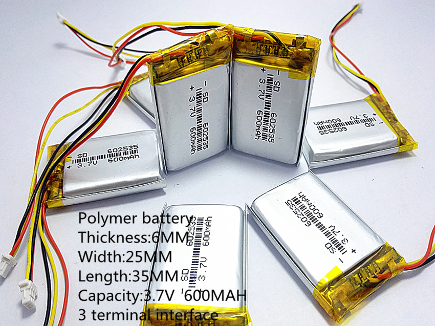 3 line 602535 062535 3.7V 600mAh Rechargeable li Polymer Li-ion Battery For headphones tachograph MODEL 582535 SP5 mp3 mp4 GPS3 line 602535 062535 3.7V 600mAh Rechargeable li Polymer Li-ion Battery For headphones tachograph MODEL 582535 SP5 mp3 mp4 GPS