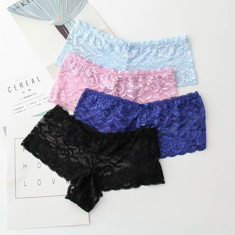 Good Quality Women Sexy Transparent Full Lace Panties Brand Water Soluble Trunk Gauze Underwear Low-waist Women Briefs M-5XL 2