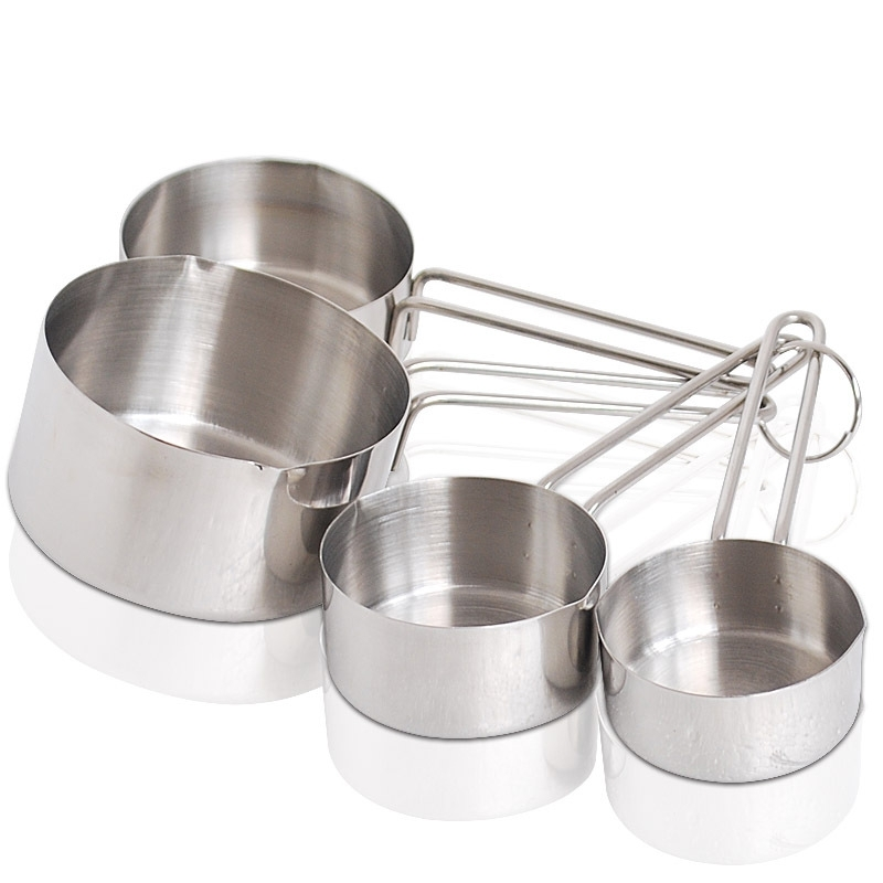 rounded bottom stainless measuring cups