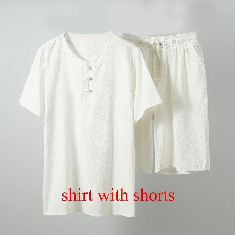MFERLIER Summer men shirt 5XL 6XL 7XL 8XL 9XL 10XL Bust 157-162cm plus size linen large size shirt with shorts men 5 colors 14