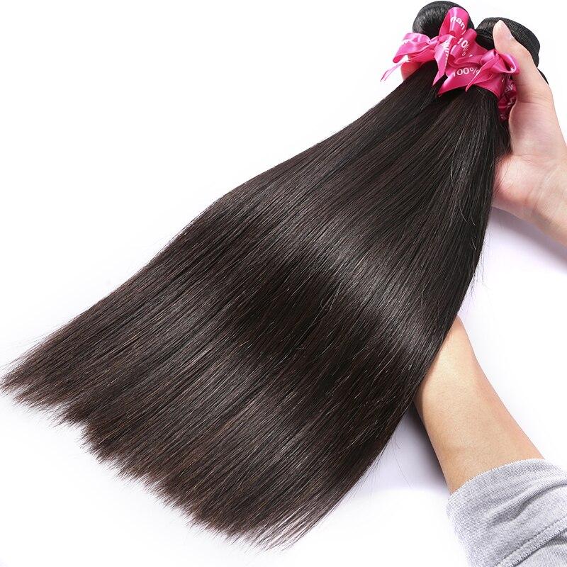 4 pacotes natrual reta extensões de cabelo