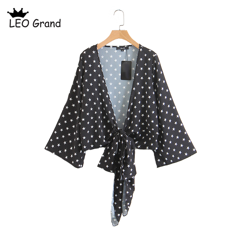 Leo Grand women casual stars printed blouses deep V neck flare sleeves shirts drawstring design crop tops blusas mujer 926012