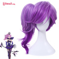 L-email wig New Game LOL Lux Cosplay Wigs White/Purple Long Curly Synthetic Hair Peruca Cosplay Wigs for Women ZY232