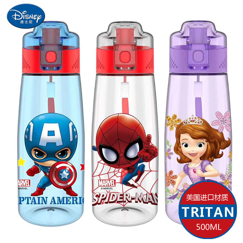 550ML Baby BPA Free Cartoon Mickey Minnie Cup Disney Kids Princess Sophia Cute Babies Spiderman Straight Drinking Bottle
