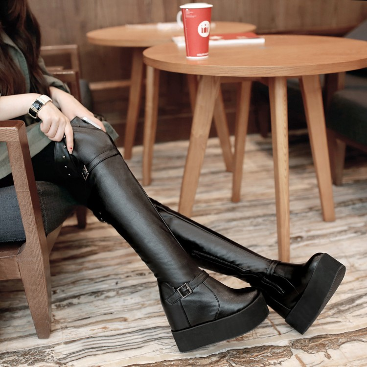 ФОТО Customize tube sexy over-the-knee 25pt rivet small yards 32 33 plus size 40 - 43 elevator boots autumn and winter free shipping
