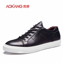 AOKANG Brand New Style Men Shoes genuine leather High Quality Men Casual Shoes Lace Up Casual Shoes Men free shipping