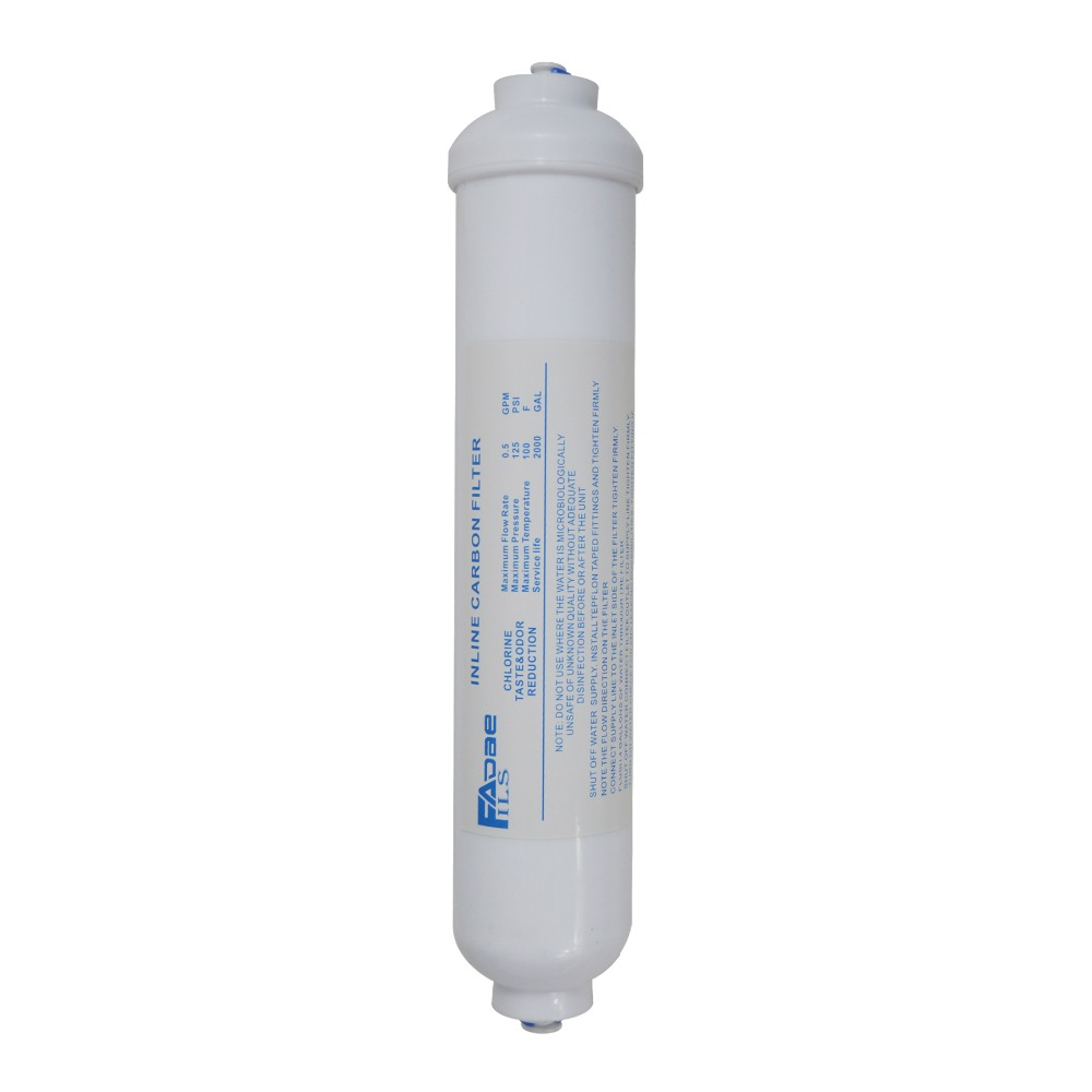 Premium 10 Inline Coconut Carbon GAC Post Filter Replacement 1/4 Quick Connect For RO System/Refrigerator/Coffee Maker etc. inline post coconut carbon filter 2500 gal 2odx10 l 1 4 quick connector for refrigerator ice maker under sink ro system