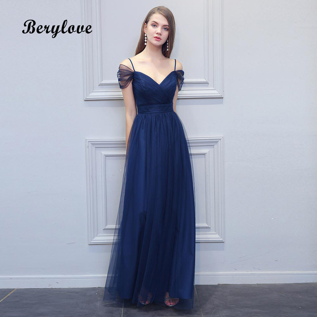 BeryLove Long Navy Blue Tulle Evening Dresses Simple Off Shoulder Prom  Dresses 2019 Fashion Formal Dress Special Occasion Gowns 7462eaafdfb4