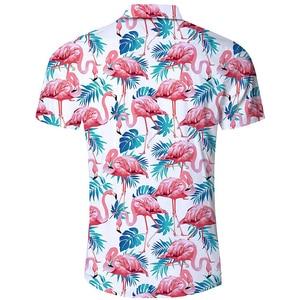 Image 3 - גברים של פלמינגו הדפסת קיץ קצר שרוול חולצות 2019 חדש הוואי סגנון חוף מזדמן Slim Fit לנשימה נוח חולצות