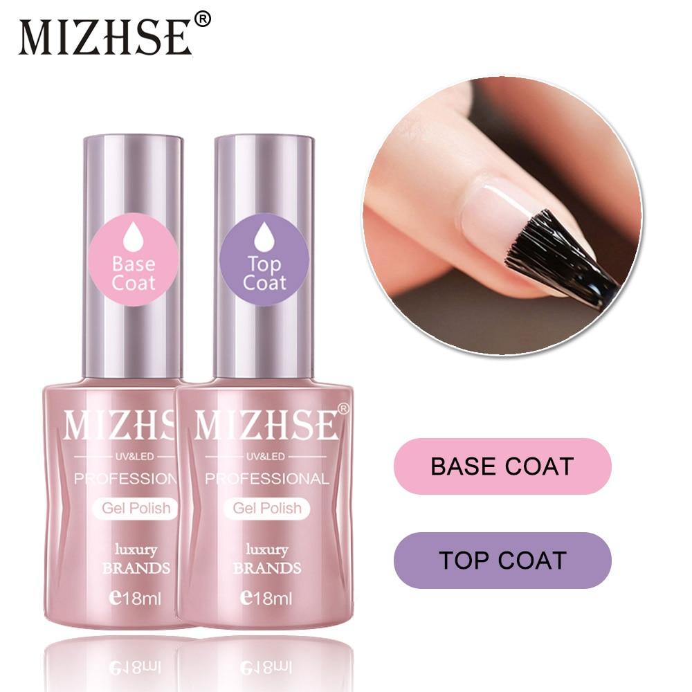 MIZHSE 18ML 2pcs/Lot Base Top Coat Gel Polish Primer Long Last Gel Nail Polish Semi Permanent Gelpolish Shilak Clear Finish Gel