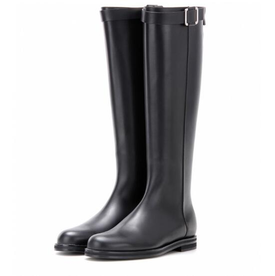 2018 winter women leather boots round toe low heels knee high boots fashion metal decor Motorcycle boots rome style riding shoes 2017 spring new style riding boots fashion round toe pumps high heels boots women metal buckle mid calf boots fringe mujer shoes