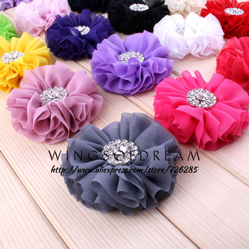 (120pcs/lot)2.8 15 Colors Fluffy Ruffled Flower For Hair Clips Chic Chiffon Metal Alloy Button Flower Accessories For Baby