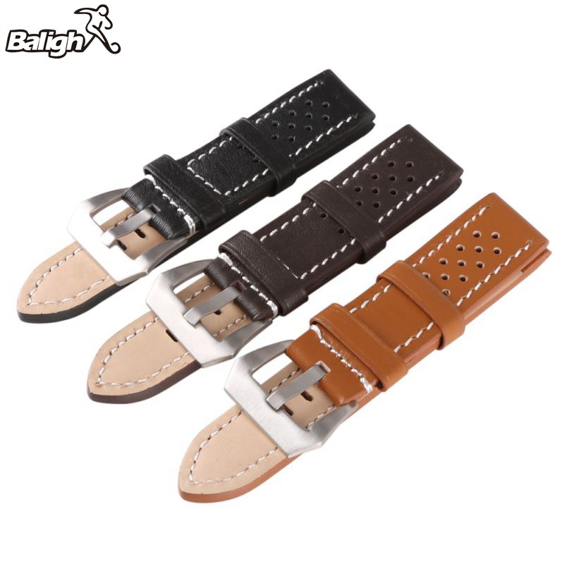 Leather Thick Band Strap Belt Silver Pin Buckle Men Watch Band Lady Black Gray Green Dark Light Brown Watch Band