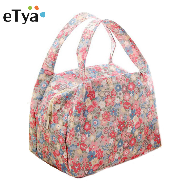Hot Sale portable thermal insulated Oxford cloth lunch bag picnic tote bag Fresh insulated lunch bag for women Flower food bags