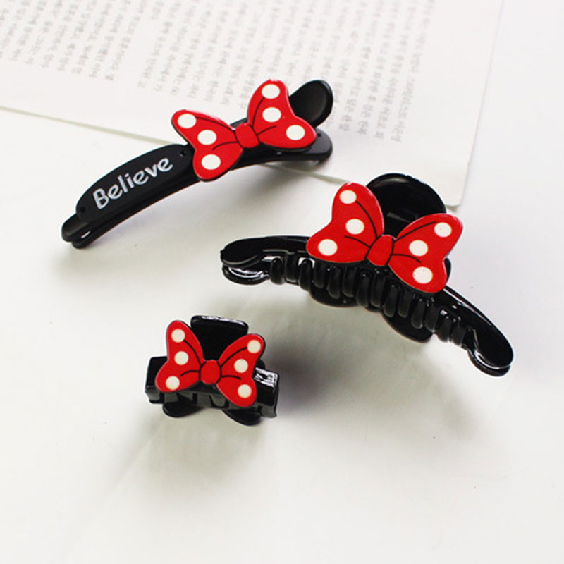 1PC Cute Fashion Personality Red Bow Paw Clip Duckbill Hair Pins Hair Accessories Girls Baby Side Clips Beautiful Lady Headdress