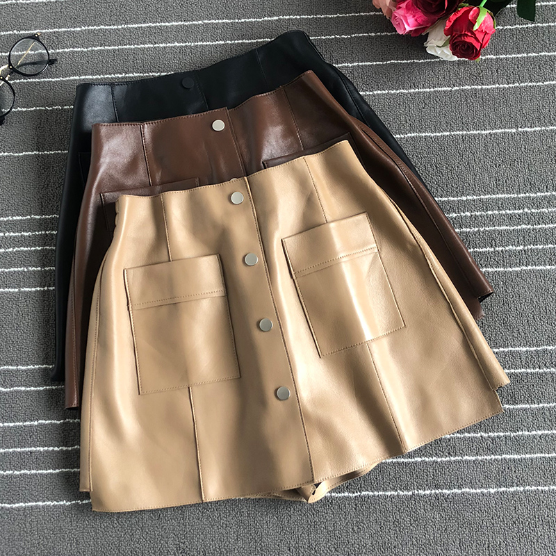 Europe Style High Quality Real Leather Shorts 2019 Spring Autumn Women's A-line Pockets Shorts Skirts A599
