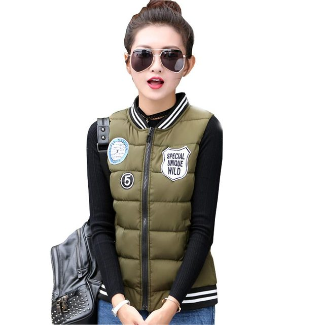 2016 new fashion winter vest women short waistcoat sleeveless jacket casual vest down cotton-padded outerwear plus size kp0697