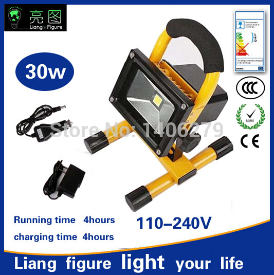 30w 4hours LED Portable Rechargeable Spotlight AC110-240V white LED Outdoor Emergency LED Integrated floodlight