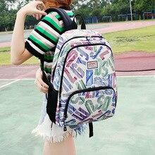 Марка Качество школьников сумки случайный стиль колледжа большой емкости для ноутбука рюкзаки для девочек мода мультфильм сумка