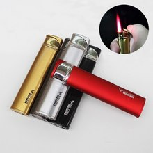 Ultra-thin Men And Women Long Strip Windproof Lighter Metal Gas Lighter Red Flame Refillable Butane Cigarette Lighter 6318 stylish windproof butane lighter red