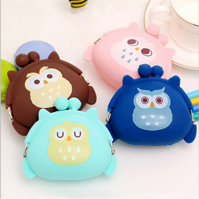New Cute Mini Animal Case Storage Bag Candy Owl Wallet Silicone Small Pouch Cute Coin Purse for Girl Key Rubber Wallet Children