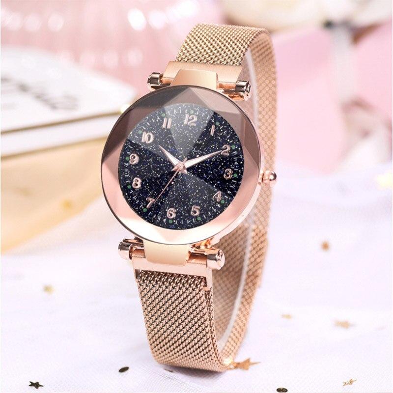 Women watch fluorescence Starry sky numeral Milan Magnet Buckle Luxury Fashion Ladies Geometric Roman Numeral Quartz Watch
