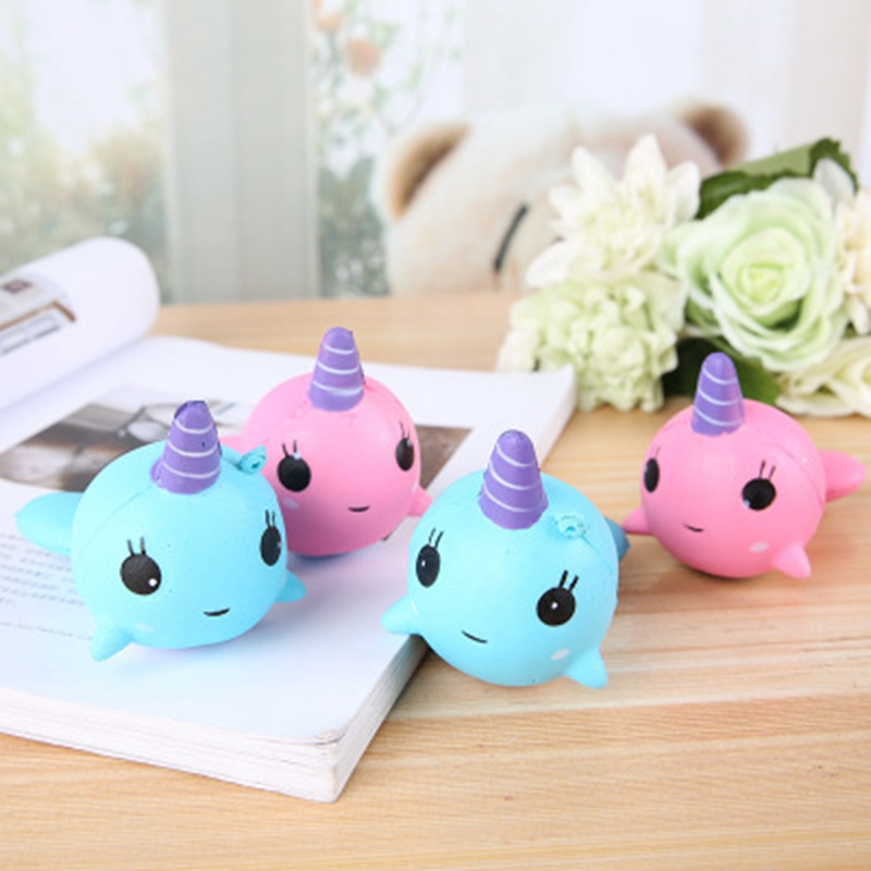 Kawaii Slow Rising Soft Dolphin Horn Whale Decompression Squishy Toys For Children Squishies Cartoon Dolphin Stress Relief Toy