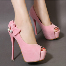 The new super high heels sweet bow pearl fish head shoes fine with sexy nightclub waterproof shoes women