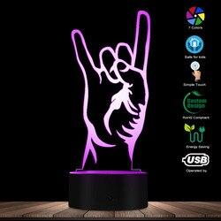 Современный рок-н-ролл 3D оптический иллюзионный ночник рок-н-ролл знак силуэт дизайн Настольный светильник креативная лампа