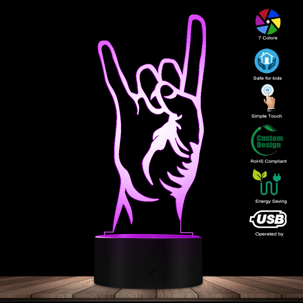 Modern Rock And Roll Hand Gesture 3D Optical Illusion Night Lamp Rock On Hand Sign Silhouette Design Desk Light Creative Lamp