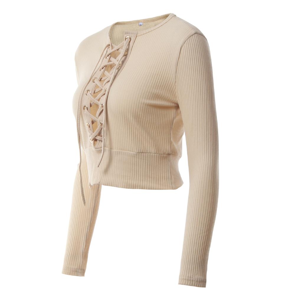 Nadafair Long Sleeve Laced Up Criss Cross Short T Shirt White Black Grey Khaki Casual Women Crop Top 6