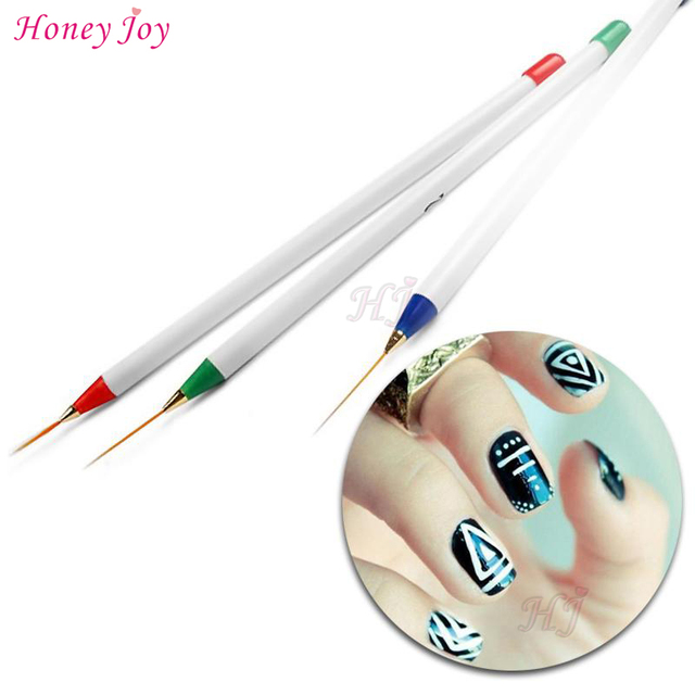 3pcs Drawing Nail Art Liner Striping Brush Gel Pens Diy Painting Tools Set Manicure Nails