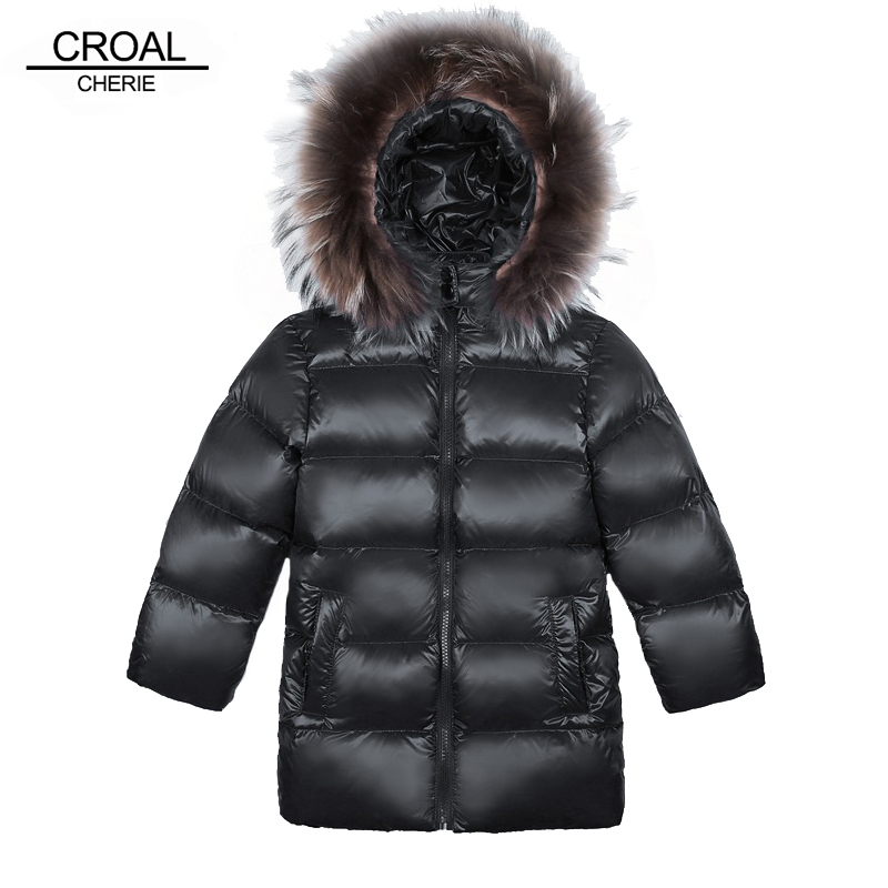 CROAL  Real Raccoon Fur Baby Boys Outerwear Girls 90% Down Jacket Children Winter Coat Hooded Thickening Kids Padded Jackets luxury finland raccoon fur hooded 90