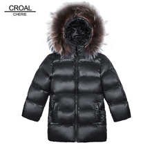 CROAL  Real Raccoon Fur Baby Boys Outerwear Girls 90% Down Jacket Children Winter Coat Hooded Thickening Kids Padded Jackets