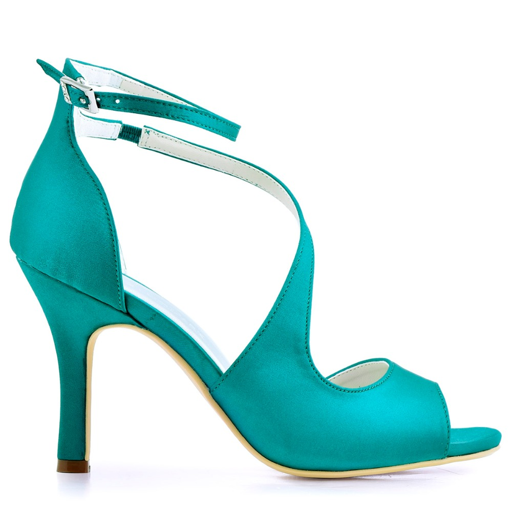 Aliexpress.com : Buy Woman High Heel Ankle Strap Sandals Teal ...