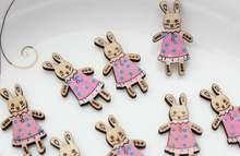 250 шт кролик кулон в платье деревянный питомник rhyme кабошон