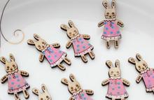 set of 120pcs Rabbit Pendant in Dress Wood Bunny Nursery Rhyme cabochon-MK0057 peter rabbit nurser rhyme time