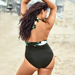 Image 2 - CUPSHE حجم كبير أوراق الأزهار طباعة الخامس الرقبة قطعة واحدة ملابس السباحة المرأة مثير الرسن Monokini لباس سباحة 2020 فتاة الشاطئ ملابس السباحة