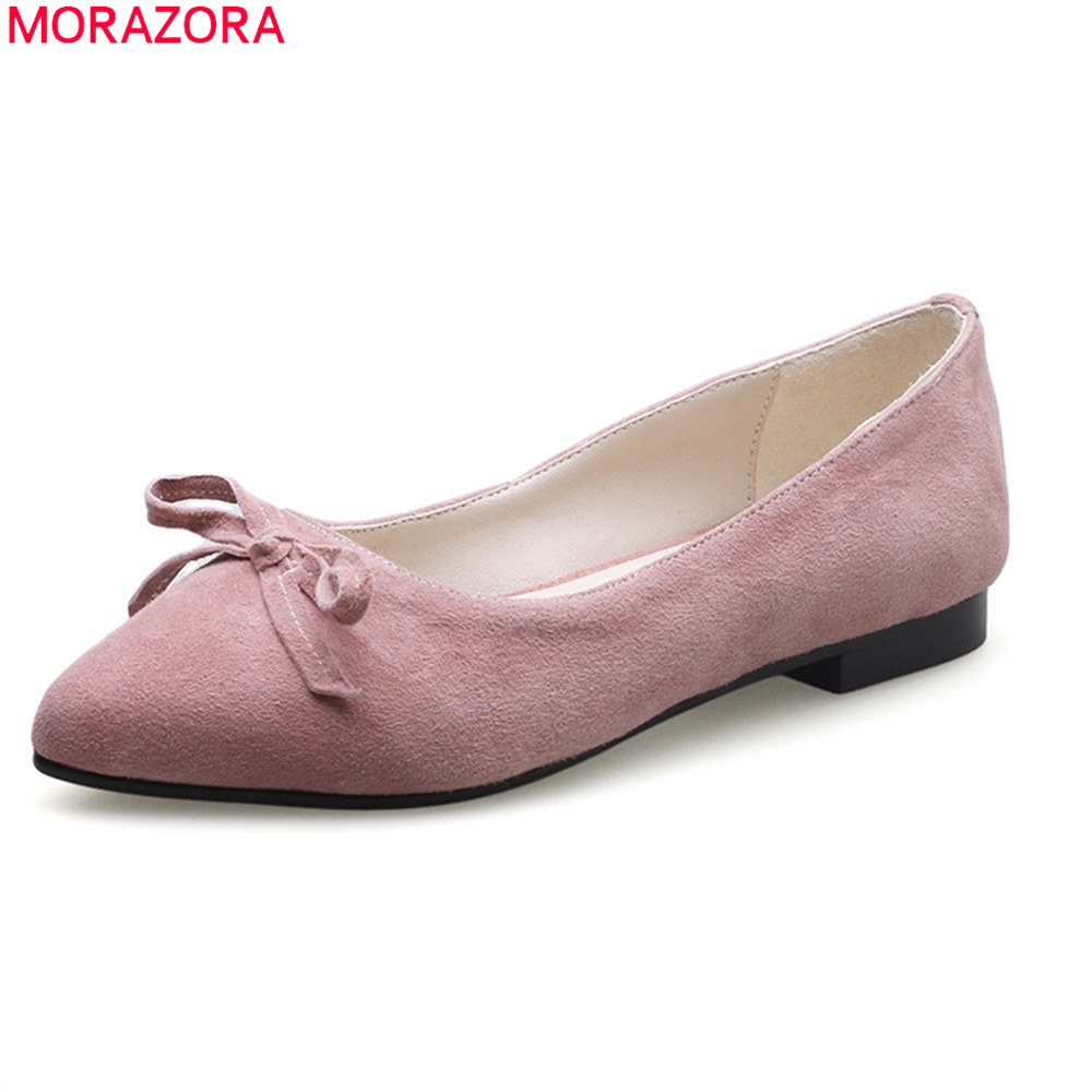 MORAZORA new arrival 2018 genuine leather women shoes slip on shallow pointed toe casual dress  pink black color women flats women genuine leather slip on pointed toe lazy shoes sweet bow knot shallow party spring autumn women pumps black pink